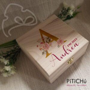 joyero personalizado con inicial floral